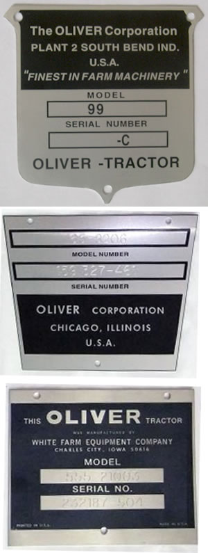 Serial Plates for Oliver Tractors